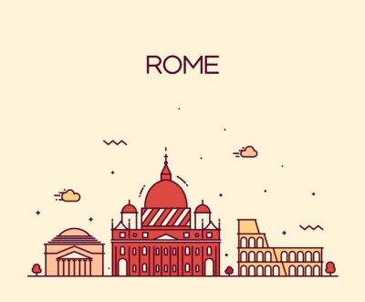 Adesivo Roma City skyline linha de vector detalhado estilo de arte