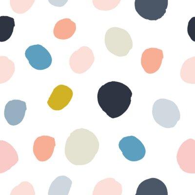 Adesivo Rosa pastel do pó, azul marinho, salmão, teste padrão sem emenda das bolinhas pintados à mão bege, cinzentas da aquarela no fundo branco. Círculos de tinta acrílica, textura redonda de confete. Vetor