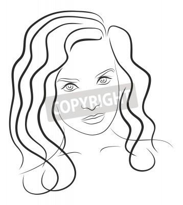 Rosto Desenho Preto E Branco Da Mulher Jovem 6 Laptop Adesivos