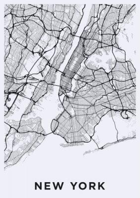Adesivo Roteiro de Nova Iorque (Estados Unidos). Rede de transporte da Big Apple. Formato de pôster imprimível (retrato).