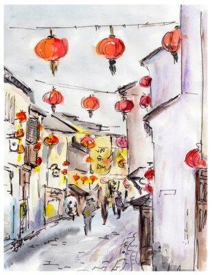 Adesivo Rua velha da cidade na China, lanternas vermelhas tradicionais chineses