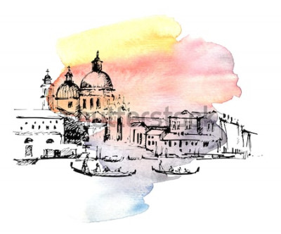 Adesivo Ruas em Veneza com gôndola, Itália. Esboço desenhado de mão sobre fundo colorido em aquarela.