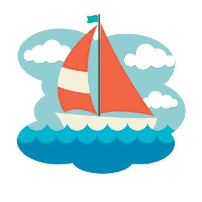 Adesivo Sailing Boat on Waves