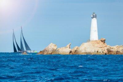 Adesivo sailing in Sardinia, Monaci island lighthouse, Italy