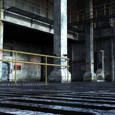Adesivo Sala industrial do departamento técnico com portas de ferro, colunas e elementos metálicos