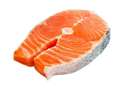 Adesivo salmão bife isolado no fundo branco