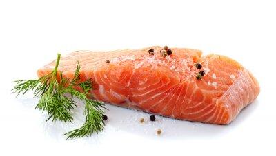 Adesivo salmão fresco cru