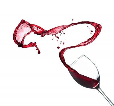 Adesivo Salpicos de vinho tinto de vidro, isolado no fundo branco