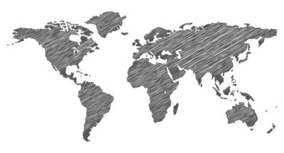 Adesivo Scribble Weltkarte