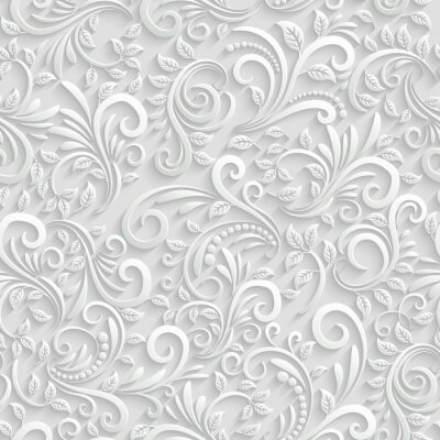 Adesivo Seamless Background 3d Floral