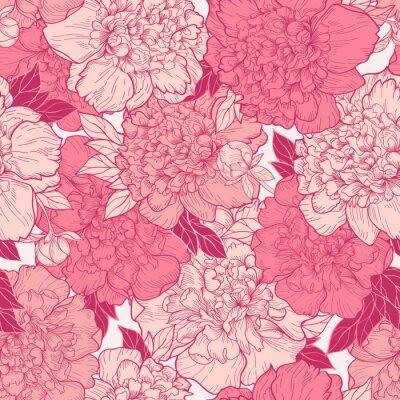 Adesivo Seamless  background with peonies