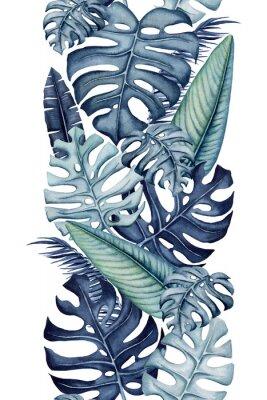 Adesivo Seamless Border of Watercolor Monstera and Banana Leaves