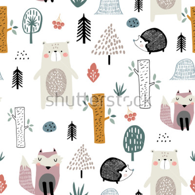 Adesivo Seamless childish pattern with cute bear, fox, hedgehogs in the wood. Creative kids scandinavian style texture for fabric, wrapping, textile, wallpaper, apparel. Vector illustration