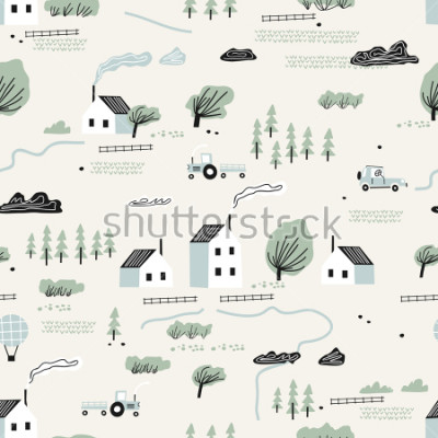 Adesivo seamless colorful pattern with house,trees and mountains. Nordic nature landscape concept. Perfect for kids fabric, textile, nursery wallpaper.