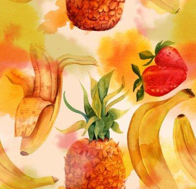 Adesivo Seamless com bananas, morangos e brilhantes um abacaxi