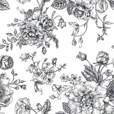 Adesivo Seamless com buquê de flores.
