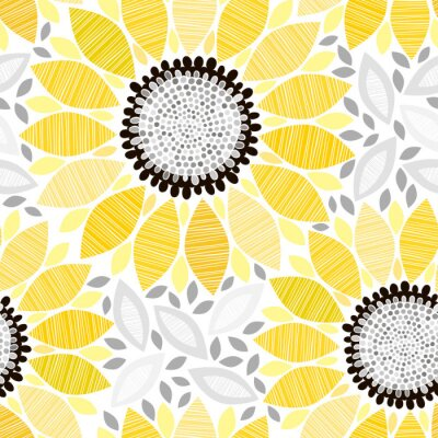 Adesivo Seamless com girassóis. Fundo floral abstrato.