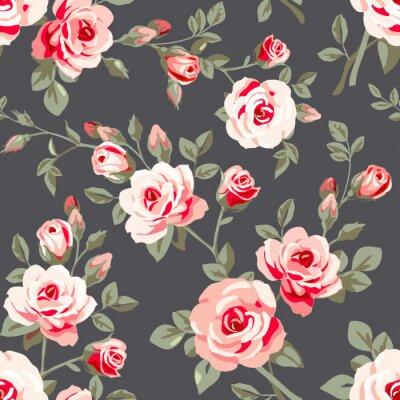 Adesivo Seamless com rosas cor de rosa