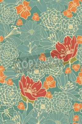 Adesivo Seamless, floral, Padrão, vermelho, flores, monocromático, fundo