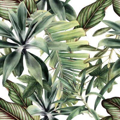 Adesivo Seamless floral pattern with tropical piants, watercolor.