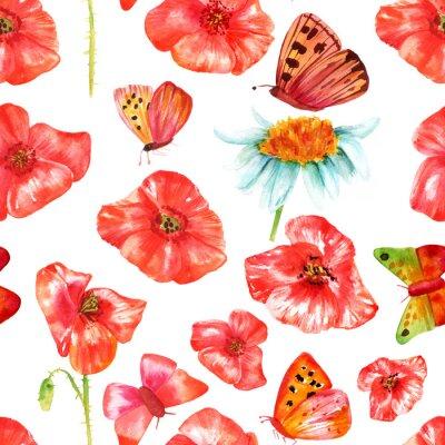 Adesivo Seamless, fundo, textura, vibrante, vermelho, aquarela, papoulas