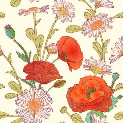 Adesivo Seamless, Padrão, chamomile, papoula, flores