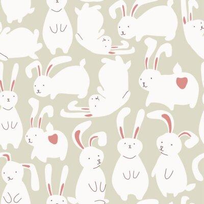 Adesivo Seamless, Padrão, cute, branca, coelhos