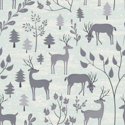 Adesivo Seamless, Padrão, veado, Inverno, floresta