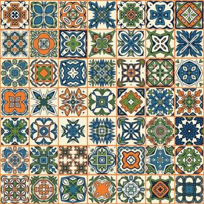 Adesivo Seamless patchwork padrão, azulejos, ornamentos