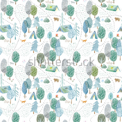 Adesivo Seamless pattern of a camping,road,fox,wolf,bear in the woods.Tent, trees, bonfire, plants and floral.Landscape tourism.Watercolor hand drawn illustration.White background.
