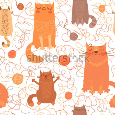 Adesivo Seamless pattern with cute cats and balls of yarn. Vector illustration.