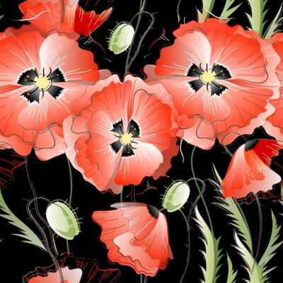 Adesivo Seamless Pattern with Red Poppy Flowers
