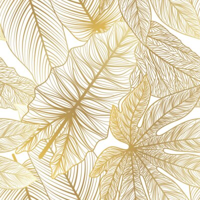 Adesivo Seamless pattern with tropical leaf palm . Vector illustration.