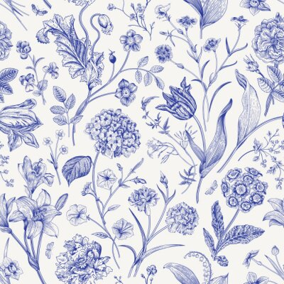 Adesivo Seamless vector floral pattern. Classic illustration. Toile de Jouy