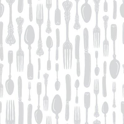 Adesivo Seamless Vintage Heirloom Silverware - Fork, Spoon, Knife - Vector Repeat Pattern in Subtle Gray on Light Background