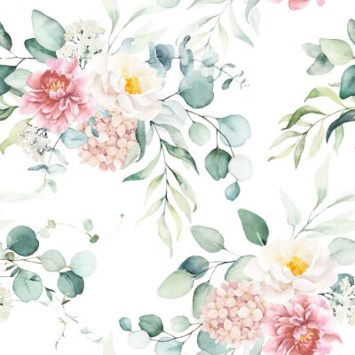 Adesivo Seamless watercolor floral pattern with pink & peach cream flowers, leaves composition on white background, perfect for wrappers, wallpapers, postcards, greeting cards, wedding invitations, events.