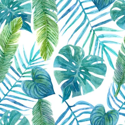 Adesivo Seamless watercolor pattern of tropical leaves