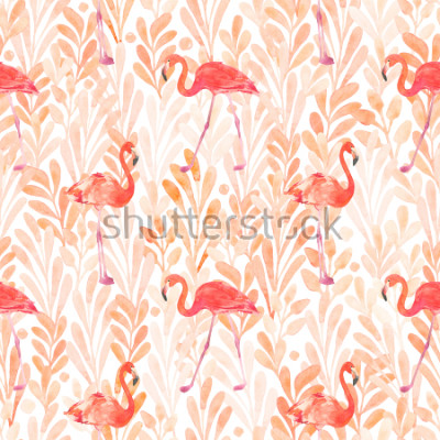 Adesivo Seamless watercolor pattern with a bird flamingo. Beautiful pink bird. Tropical flamingo.