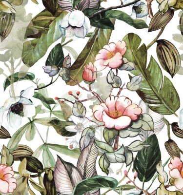 Adesivo Seamless watercolor pattern with tropical flowers, magnolia, orange flower, vanilla orchid, tropical leaves, banana leaves