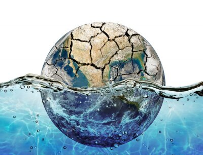 Adesivo Secaram planeta imerso nas águas do oceano mundial