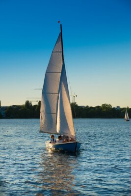 Adesivo Segelboot, blaue Stunde
