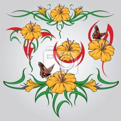 Seleção De Desenhos Tatuagem Tribal Flores E Borboleta