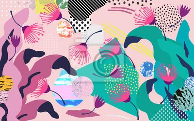 Adesivo Selva tropical folhas e flores de fundo. Design de cartaz tropical colorido. Arte de folhas, flores, plantas e galhos exóticos. Teste padrão botânico, papel de parede, projeto de ilustração vetorial d