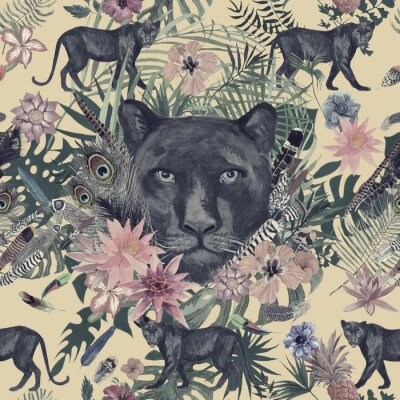 Adesivo Sem costura mão desenhada padrão aquarela com pantera, flores, penas, flores.