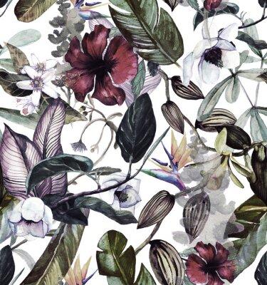 Adesivo Sem costura padrão aquarela com flores tropicais, magnólia, flor de laranjeira, baunilha orquídea, folhas tropicais, folhas de bananeira