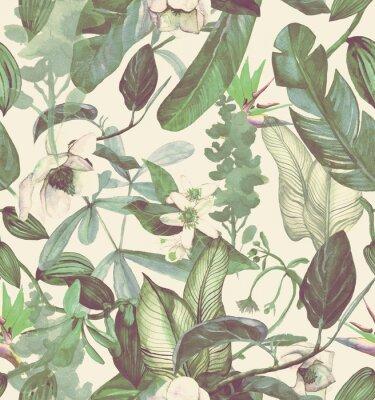 Adesivo Sem costura padrão aquarela com flores tropicais, magnólia, flor de laranjeira, orquídea baunilha, folhas tropicais, folhas de bananeira