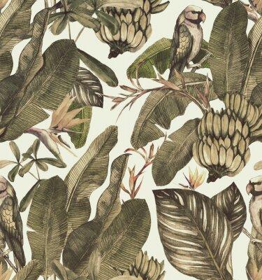 Adesivo Sem costura padrão aquarela com hibisco, folhas de palmeira, ramo de strelitzia, calathea.Tropic fundo vintage