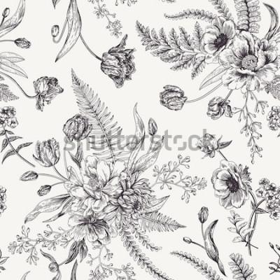 Adesivo Sem costura padrão floral com buquês de flores da primavera. Ilustração em vetor preto e branco Fundo vintage. Gravação. Peônia, samambaias, tulipas, anêmonas, sementes de eucalipto.