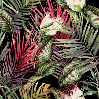 Adesivo Sem costura padrão floral com flores tropicais