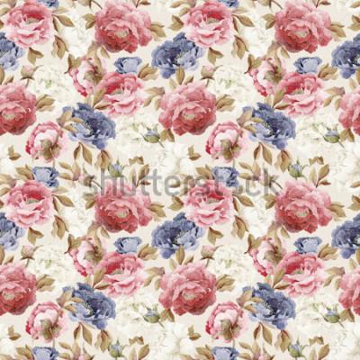 Adesivo Sem costura padrão floral com peônias, aquarela